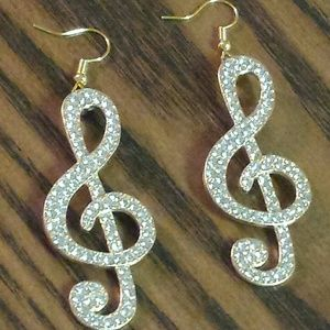 Crystal Music Note Earrings Gold Tone Dangle